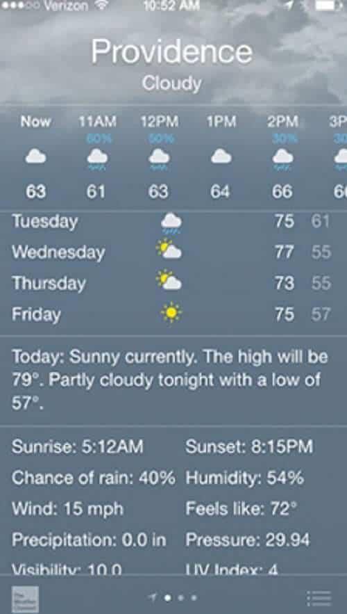 ios 8 hava durumu uygulaması