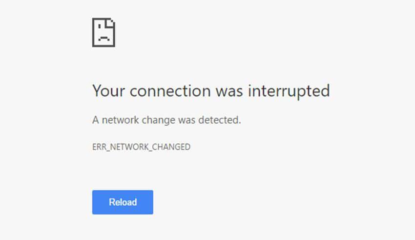 Bağlantınız kesildi - ERR_NETWORK_CHANGED